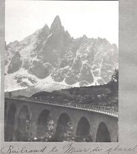 OLD PHOTOGRAPH 1900'S FRANCE MONT BLANC-MER DE GLACE-OLD RAILROAD-GLACIER PHOTO