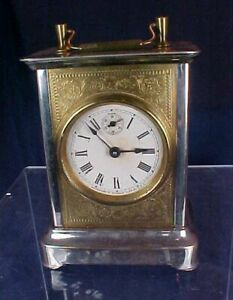 Vintage Carriage Clock Waterbury Clock Co. Metal Brass Glass Sides with Alarm