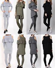 WomensCold Cut Out Shoulder Ruffle Frill Loungewear Hi Low Jogging Set Tracksuit