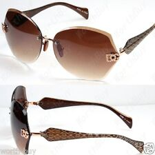 New DG Eyewear Womens Designer Sunglasses Shades Fashion Rimless Brown Tint Lens