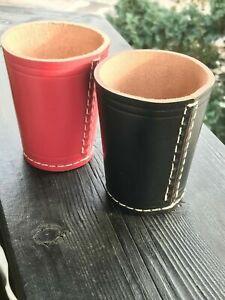 Würfelbecher Leder - aus Leder in Schwarz und Pink, Braun
