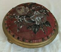 GORGEOUS ANTIQUE VICTORIAN  BEADWORK  NEEDLEPOINT SEED  BEADED FOOTSTOOL