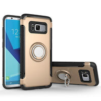 Hard PC Armor Metal Ring Stand Shockproof Case Cover For Samsung Galaxy S8 Plus