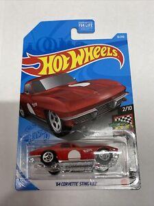 2021 Hot Wheels #10 HW Race Day 2/10 '64 CORVETTE STING RAY Red w/5 Spoke Wheels