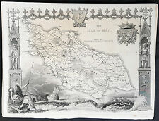 1836 Thomas Moule Original Antique Map of The Isle of Man, England