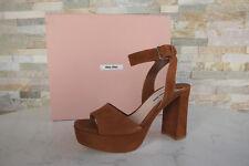 MIU Tam. 40 Sandalias con Plataforma Sandals Zapatos Braun Palo de Rosa Nuevo