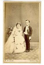 Gardner Mass MA -LITTLE PERSON WEDDING-W.P. Allen 1860s CDV Sideshow