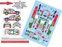 DECALS 1/43 REF 0131 TOYOTA COROLLA WRC CARLOS SAINZ RALLYE DE SUEDE 1998 RALLY