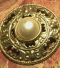 Brooch Faux Mabe Pearl Ornate Filigree Gold Metal Pin VTG 1960's Fashion Jewelry