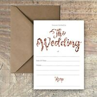 WEDDING INVITATIONS BLANK ROSE GOLD & WHITE PRINT EFFECT PACKS OF 10