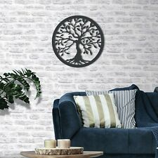 Tree Of Life Wall Art, Large Hanging Plaque Sign, Living Room Decor Black