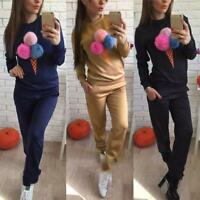 2Pcs Women Tracksuit Hoodies Sweatshirt Pants Sets Sport Wear Pom Casual Suit
