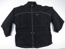 Reebok Black and Grey Hip Hop Full Zip Windbreaker Jacket Waistband Vintage