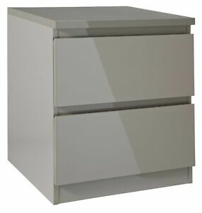 Home Jenson 2 Drawer Bedside Chest - Grey Gloss