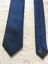 "Burton navy blue striped smart polyester skinny tie 2.25"" wide 57"" long"