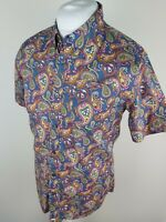 Mens Pretty Green Paisley Floral Shirt Short Sleeve Blue Small 38 To 40 Chest