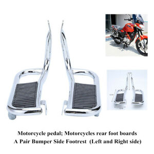 1 Pair Steel Motorcycle Rider Side Footrest Bumper Shelf Rear Foot Boards Pedal
