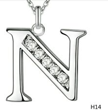 INITIAL N NECKLACE LETTER NAME PENDANT SILVER PLATED & CRYSTAL 18inch CHAIN NEW