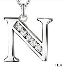 N iniziale nome lettera Collana Ciondolo Placcato Argento & Cristallo Catena 18 in (ca. 45.72 cm) NUOVO