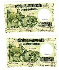 LOT 2 BILLETS Belgique Belgium 50 Francs 28/12/ 1944 10 BELGAS CONSECUTIFS P106