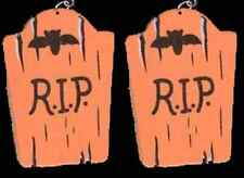 Funny Gothic TOMBSTONE EARRINGS-RIP-Retirement Novelty Halloween Costume Jewelry