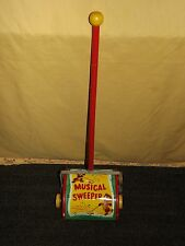 VINTAGE TOY FISHER PRICE TIN / WOOD  MUSICAL SWEEPER