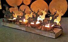 Rústico Shabby Chic Metal Navidad Santa Trineo De Madera Decoración Vela Ligera T