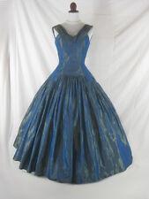 Vtg 40s 50s Blue Womens Vintage Shark Skin HUGE FULL SKIRT Ball Gown Party Dress
