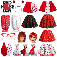 Ladies Comic Relief RED NOSE DAY 2019 COSTUME Polka Dot Skirts or Accessories UK