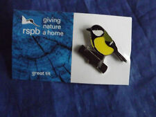 RSPB GNaH great tit Metal Pin Badge on Blue FR Card