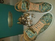 Buscemi Luxury Floral Embroidered High Top Sneakers Veg-Tan Casual Leather Shoes