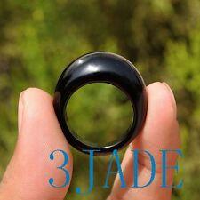 20mm Onyx / Black Agate Saddle Ring, US size 10, 10 1/2
