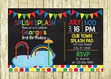 Boy Primary Color Splash Pad Theme Printed Chalkboard Birthday Invitations