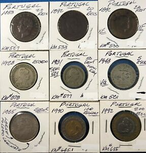 Lot of 9 Coins from Portugal  (1880's & 1900's) with Silver 1943 5 Escudo