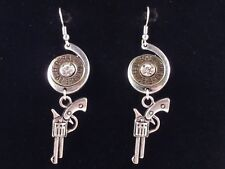Western 38 Special Fish Hook Pierced Earrings Pistol Hunter Rustic Gun Cowgirl