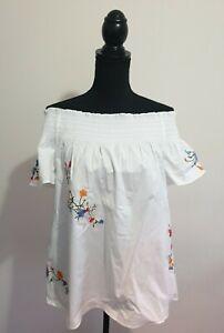 Tory Burch Eliza embroidered stretch-cotton poplin top
