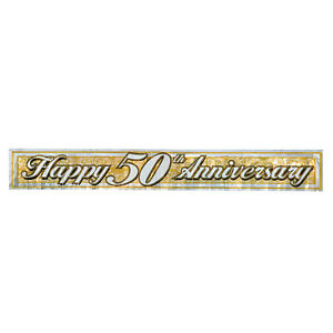 The Beistle Company-Metallic 50th Anniversary Fringe Banner (Pack of 12)