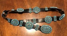 Vintage Zuni Sterling Silver Turquoise Petit Point Concho Belt By Paul Jones
