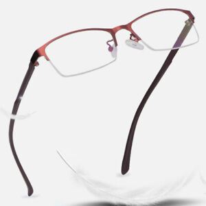 Ladies Myopia Glasses Half Metal Frame Anti Blue Light Nearsighted Eyewear Work