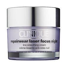 CLINIQUE Repairwear Laser Focus NIGHT Line Smoothing Cream COMBO Oily 1.7oz NIB
