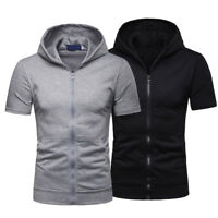 Mens Zip Up Hoodie Blouse Short Sleeve Hooded Zipper Sweatshirt Jacket Coat Tops