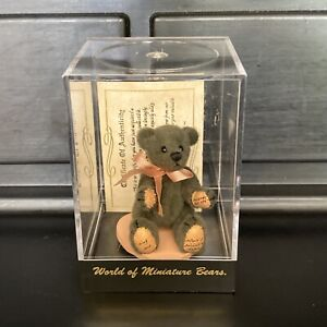 "World of Miniature Bears By Theresa Yang 2.5"" Plush Bear Olive Green #316 /1000"