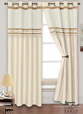 "Heavy Thermal Chenille Stripe Ready Made Lined Ring Top Eyelet Curtain Pair Cream 66"" X 72"""