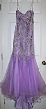 Terani Couture size 2 Purple lilac beaded evening gown Pageant strapless ladies