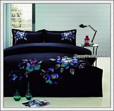 400TC 100% Cotton Black Turquoise Embroidery * 3pc QUEEN QUILT DOONA COVER SET