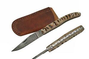 "Large 4.5"" Genuine Damascus Folder Horn Handle Extensive Filework  Elegant Knife"