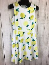 New Cynthia Rowley Size 10 Fitted Flare Linen Lemon Zest Lined Dress NWT $99
