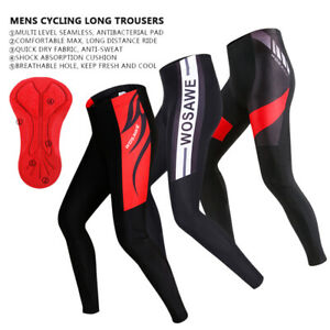 Mens Compression Cycling Tights Trousers Cool Padded Leggings Long Cycle Pants