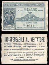 biglietto ingresso ESPOSIZIONE INTERNAZIONALE MILANO 1906
