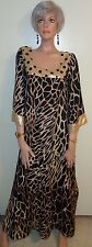 Soft Surroundings Serengeti Animal Print Maxi Caftan Embellished Rayon 1X MINT!